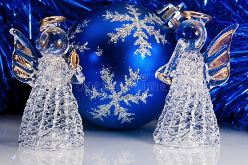 Two Glass Angel And Christmas Tree Tinsel Stock Photos