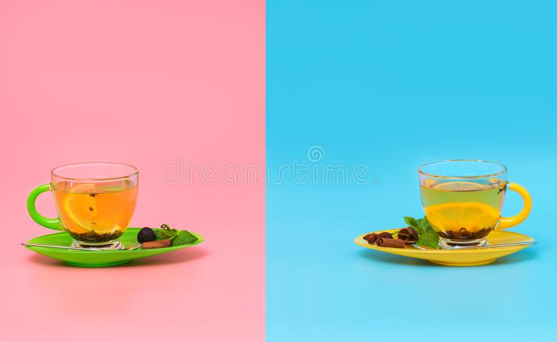 Two glass cups of spiced lemon tea royalty free stock photography