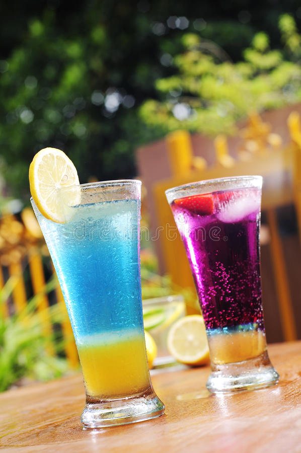 Two glass of fresh syrup stock photography