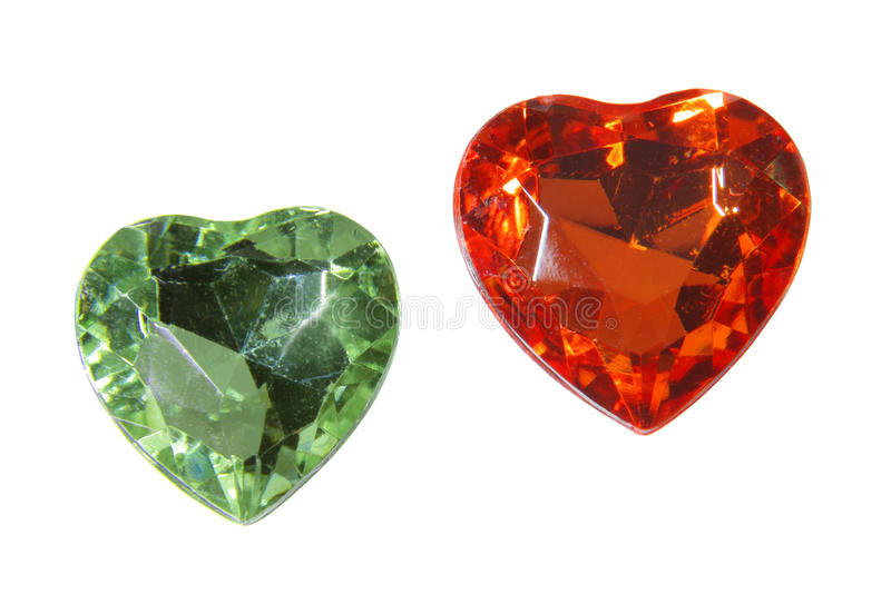 Two glass hearts stock photography
