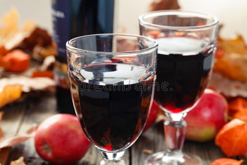 Two glass of red young wine after harvest stock photography