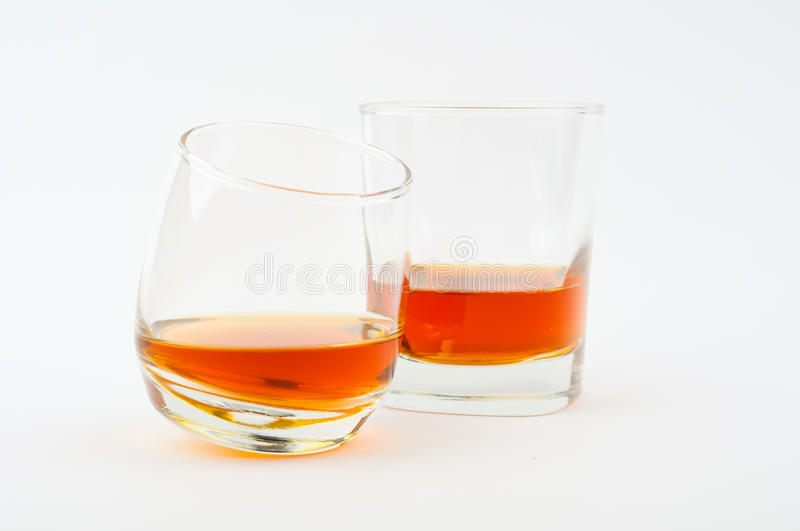 Two glass of whisky stock photos