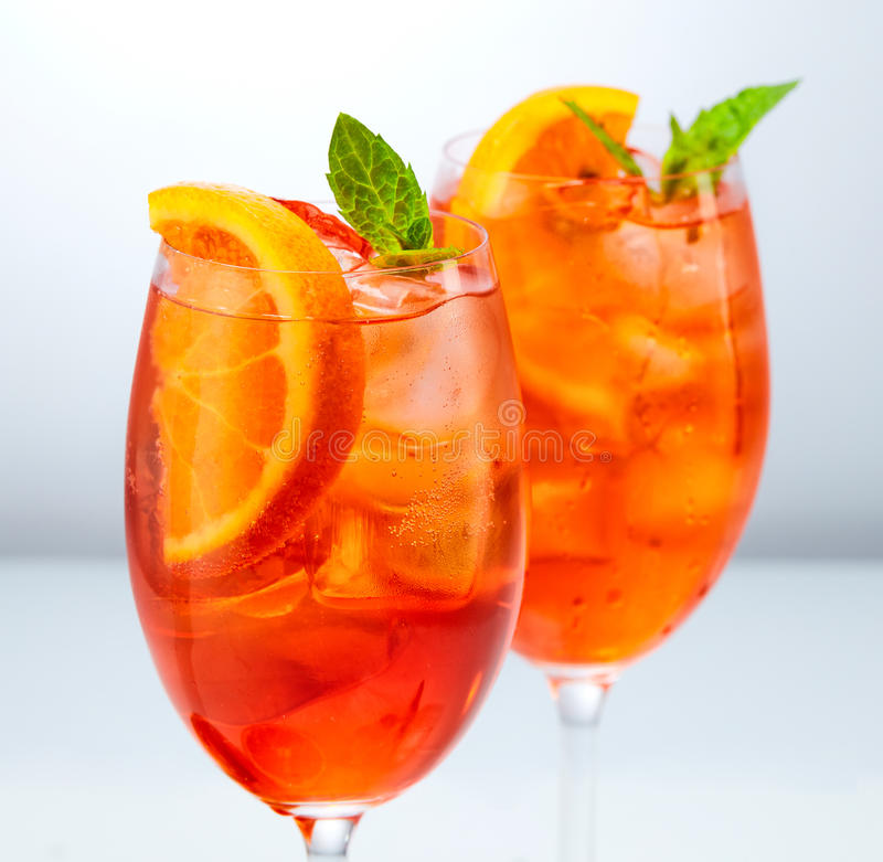Two glasses of aperol spritz cocktail. Classic Italian Aperol Spritz cocktail royalty free stock image