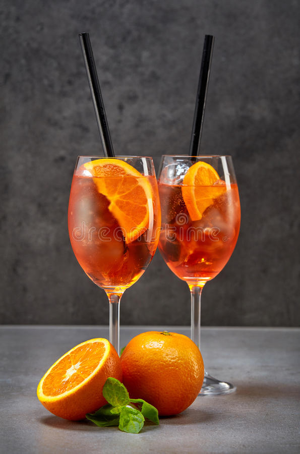 Two glasses of aperol spritz cocktail. Classic Italian Aperol Spritz cocktail stock image