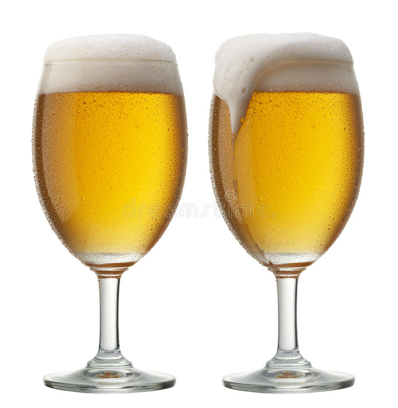 Two glasses of beer royalty free stock images