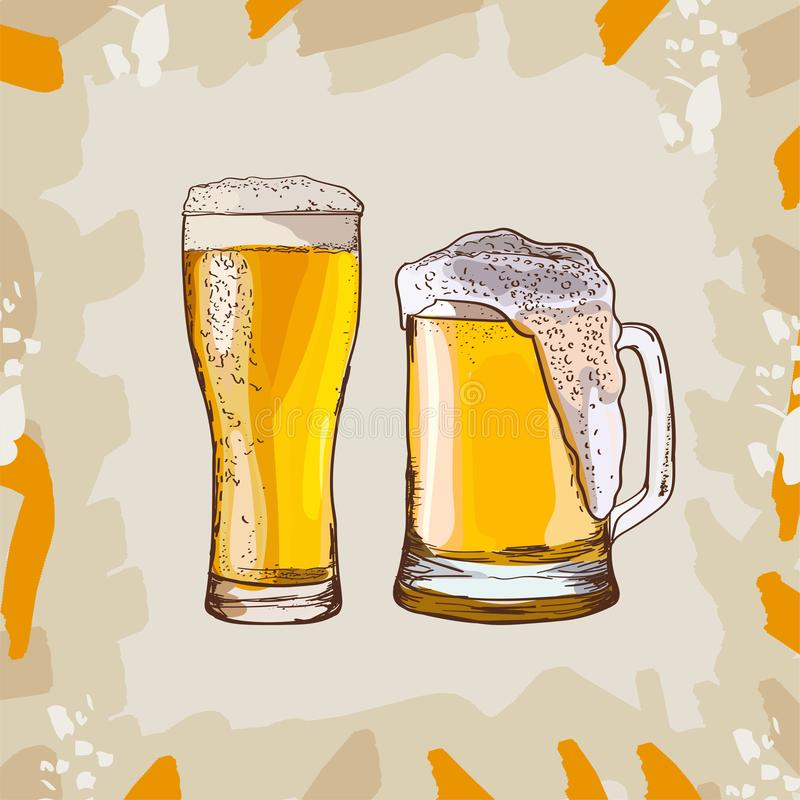 Two glasses of beer, hand-drawing oktoberfest beer, beer with foam. Vector drawing royalty free illustration