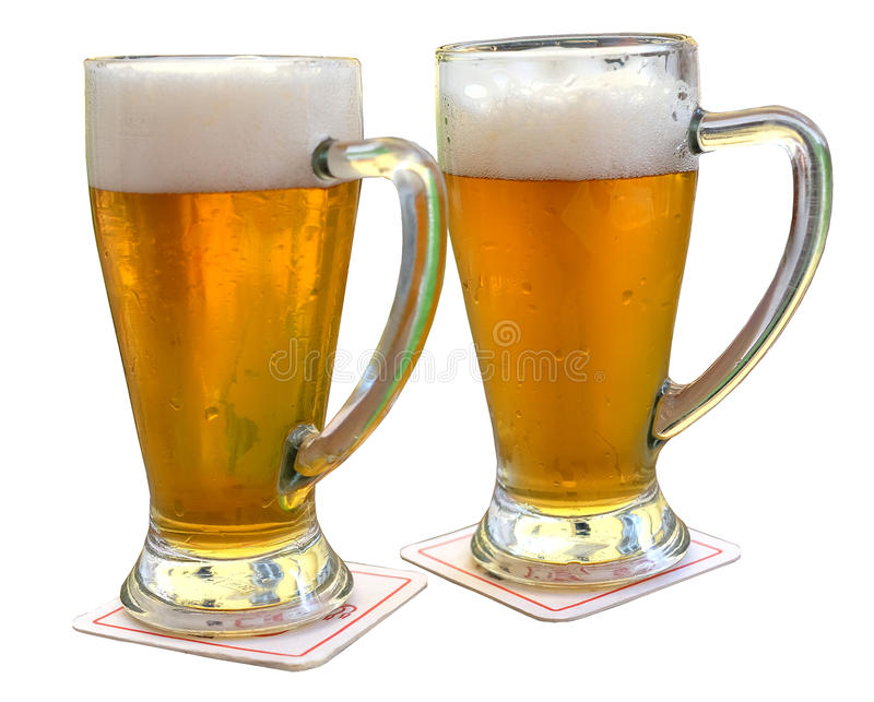 Two glasses of beer stock image