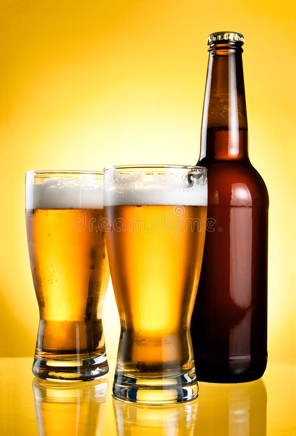 Download Two Glasses And Bottle Of Fresh Light Beer Stock Photo - Image: 25009702