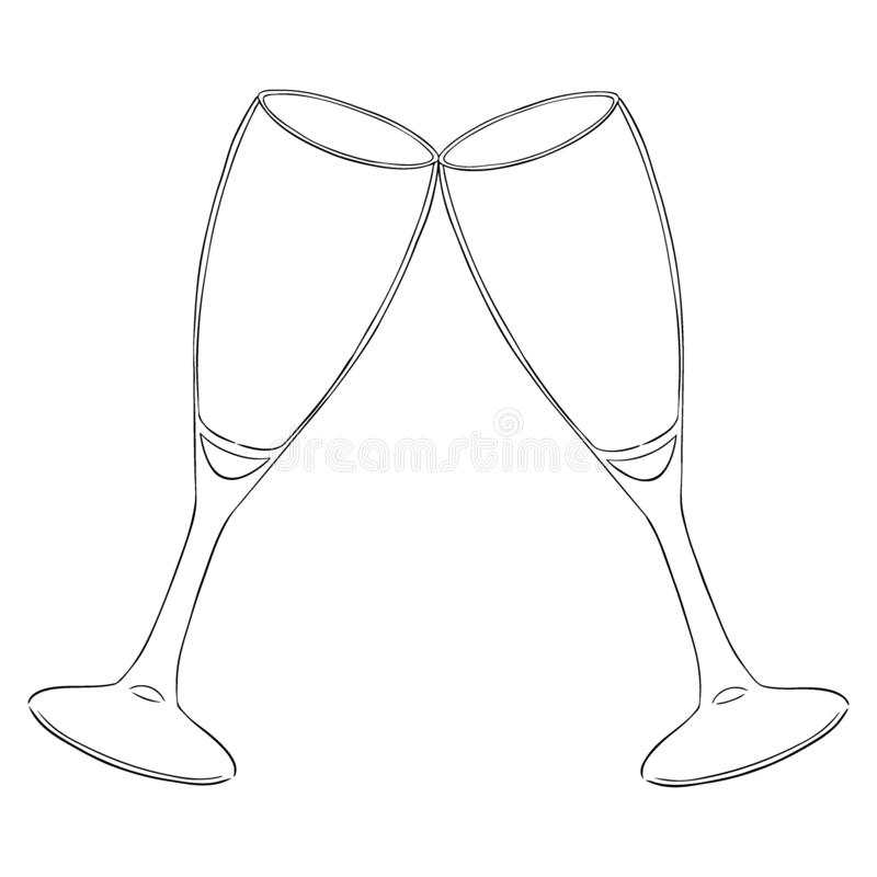 Two glasses with champagne clink glasses with a splash. New year. Contour vector. Isolated on white stock illustration