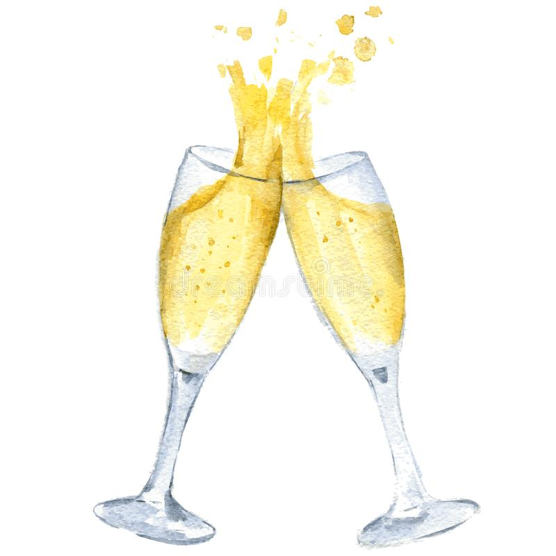 Two glasses with champagne clink glasses with a splash. New year. Vector. Isolated. royalty free illustration