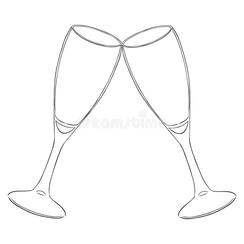 Two glasses with champagne clink glasses with a splash. New year. Contour. Isolated stock illustration