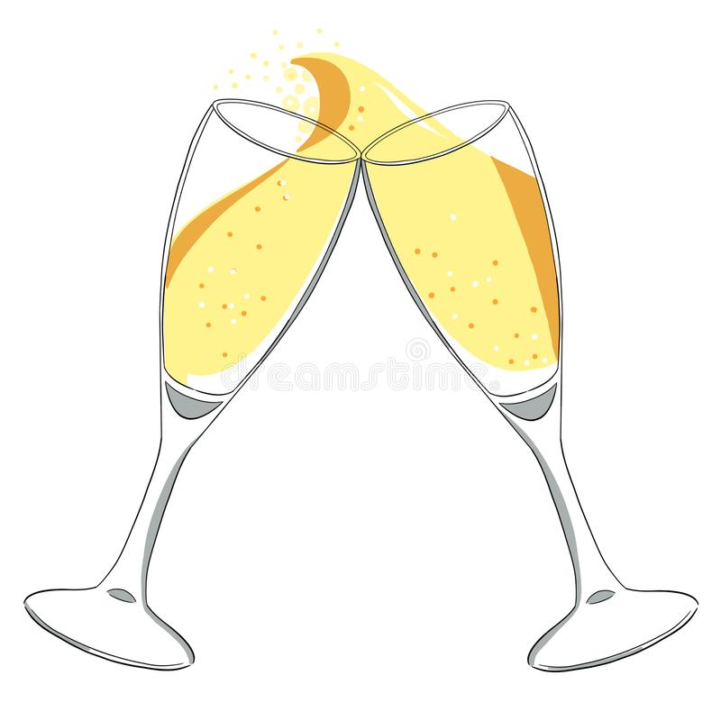 Two glasses with champagne clink glasses with a splash. New year. Isolated stock illustration