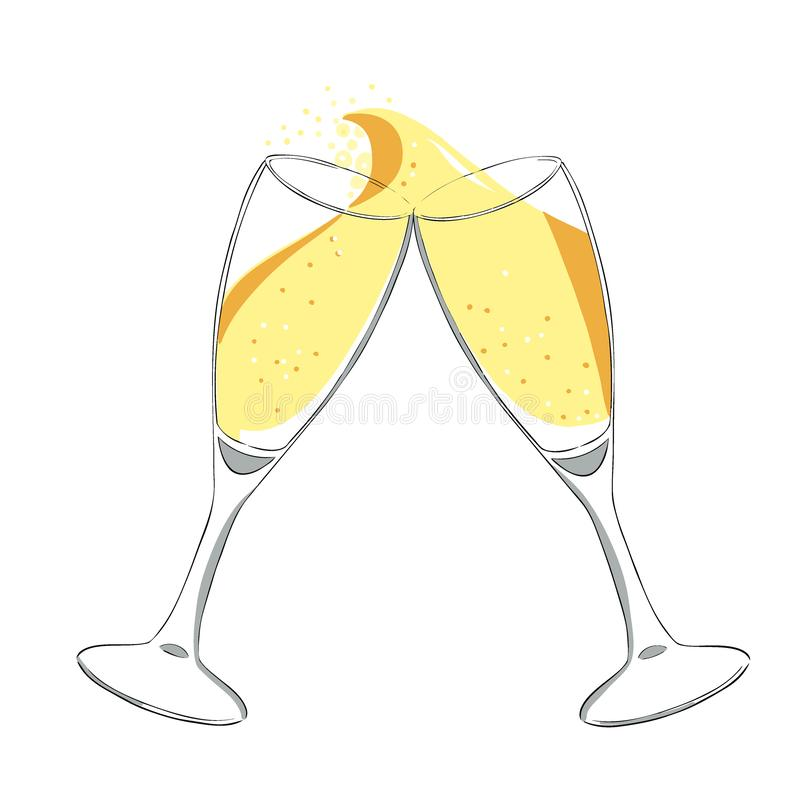 Two glasses with champagne clink glasses with a splash. New year. Vector. Isolated royalty free illustration