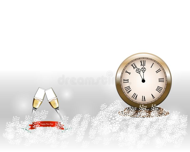 Two glasses with champagne with clock and on gray background. New Year sign royalty free illustration