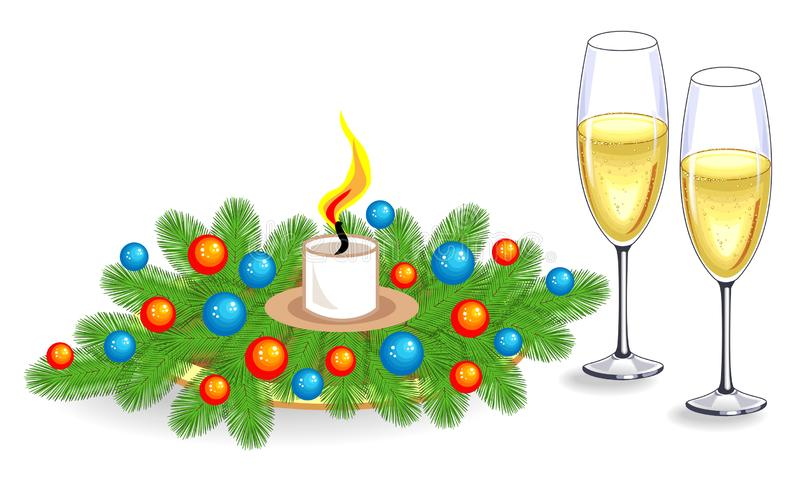 Two glasses of champagne and a composition of fir branches. decoration bright balls. Holiday Christmas, New Year. Vector royalty free illustration