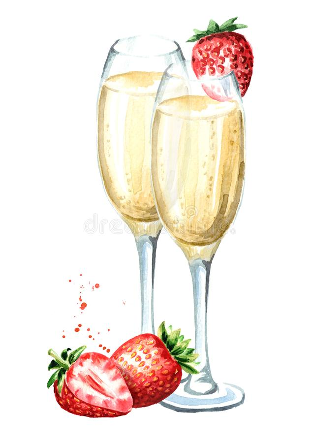 Two glasses of champagne and fresh strawberry. Watercolor hand drawn illustration isolated on white background. stock illustration