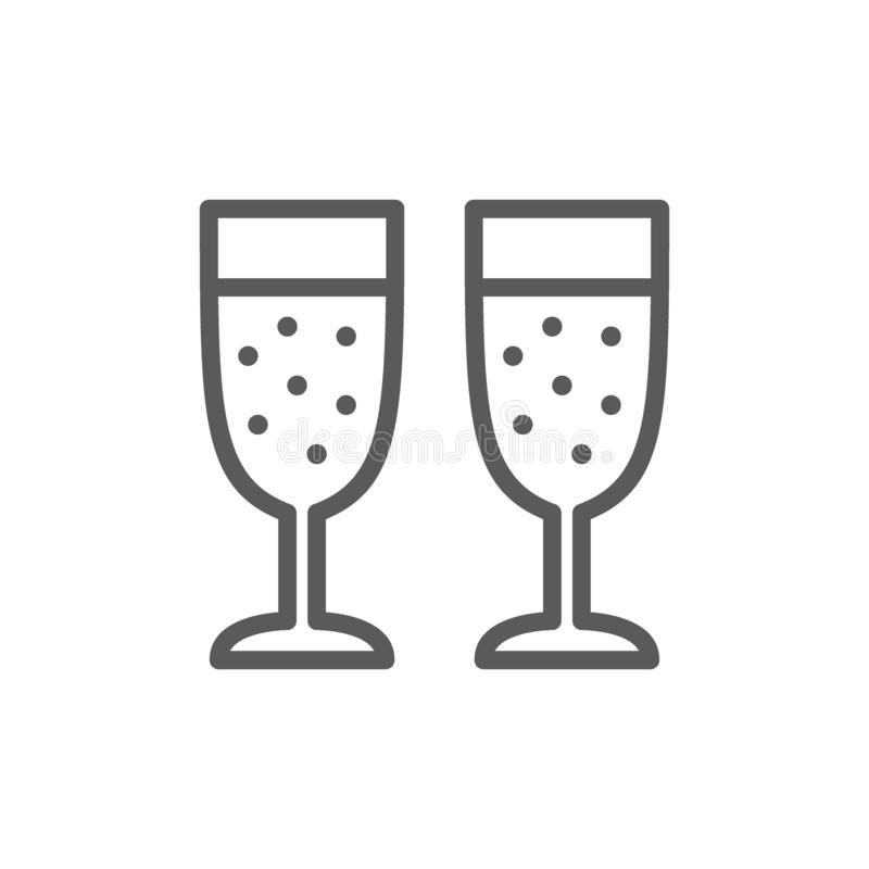 Two glasses of champagne line icon. royalty free illustration