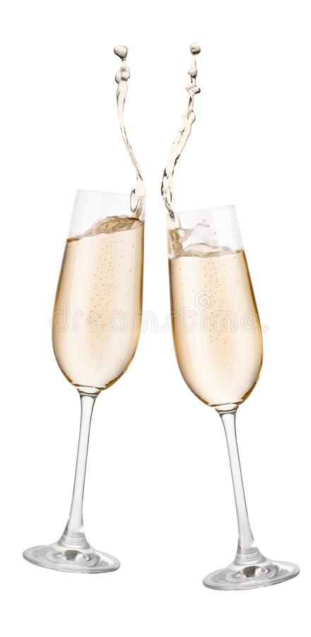 Two glasses of champagne with splash stock photo