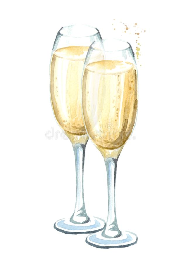 Two glasses of champagne. Watercolor hand drawn illustration isolated on white background. Two glasses of champagne. Watercolor hand drawn illustration isolated royalty free stock photo