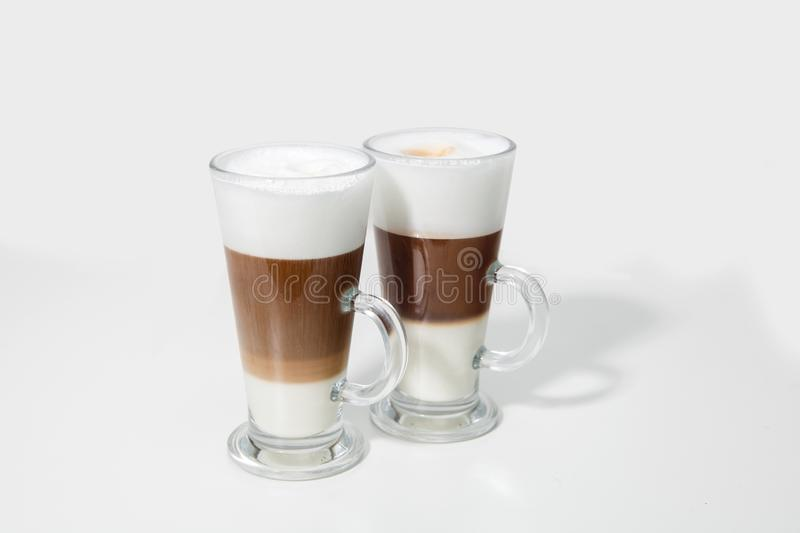 Two glasses of coffee cocktail stock image