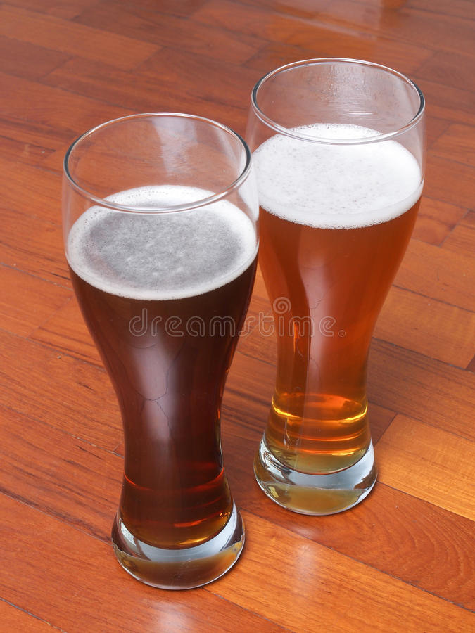 Two glasses of German beer stock photos