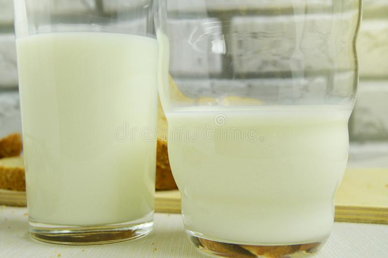 Two glasses of milk are on the table, Breakfast for the family, healthy eating concept, world health day royalty free stock image