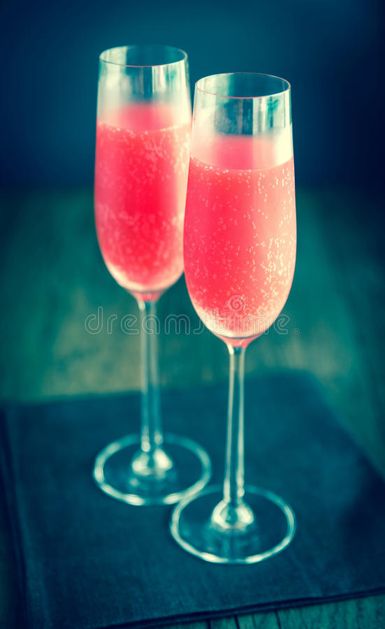 Two glasses of Mimosa cocktail royalty free stock photos