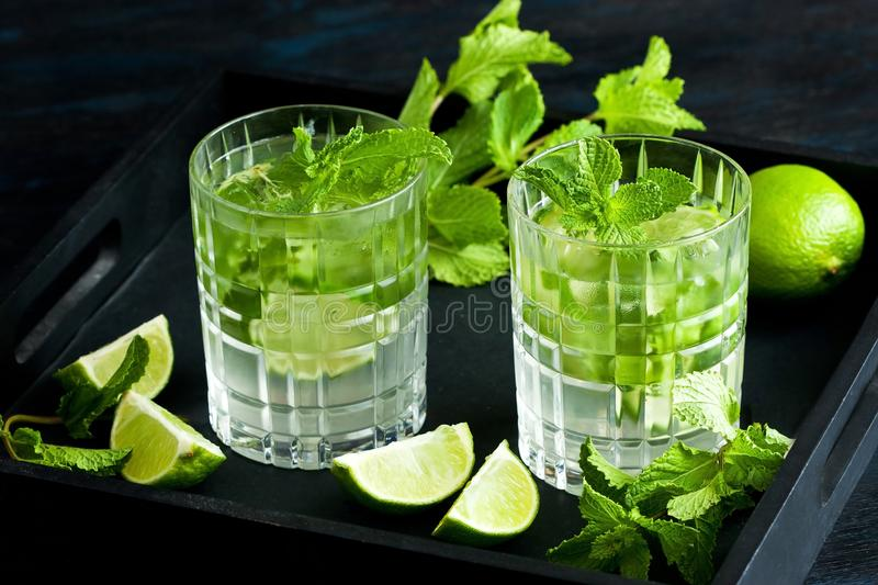 Mojito cool cocktail of lime, mint and soda, in glass with ice stock photo
