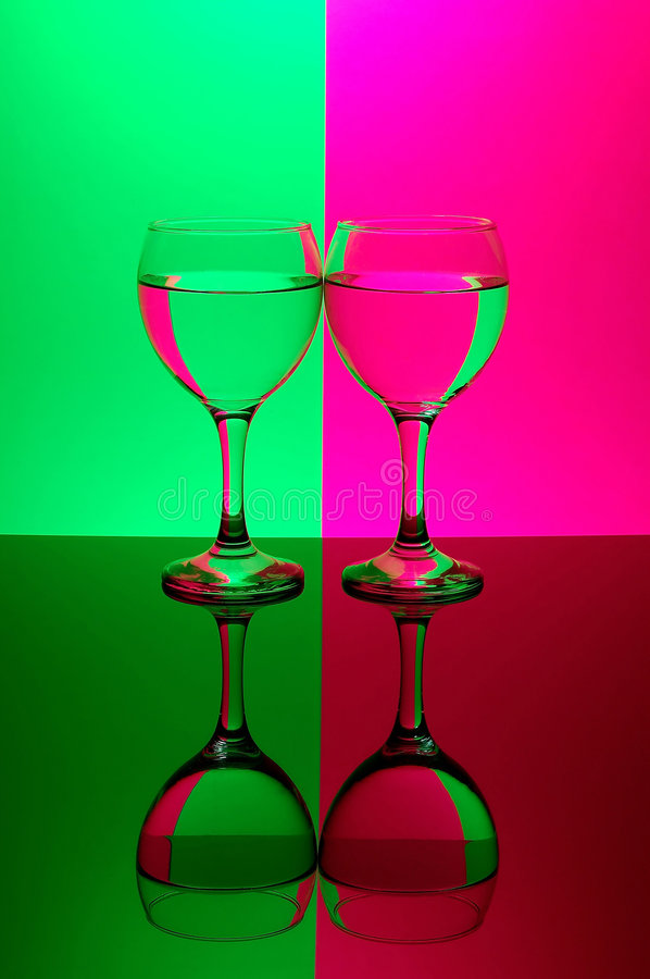 Download Two Glasses On Neon Background Stock Photo - Image: 521842