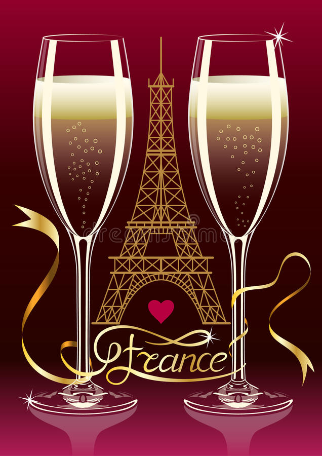 Free Two Glasses Of Champagne On The Background Silhouette Of The Eiffel Tower In Paris. France Inscription On The Tape. Royalty Free Stock Photography - 70437647