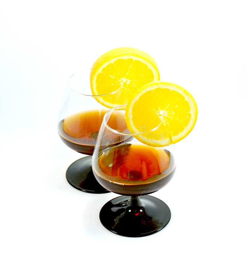 Free Two Glasses Of Cognac Stock Photography - 8493372