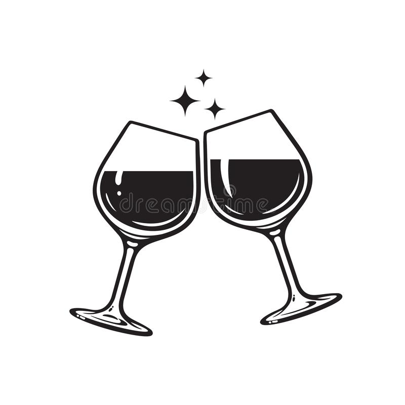 Free Two Glasses Of Wine. Cheers With Wineglasses. Clink Glasses Icon. Vector Illustration On White Background. Royalty Free Stock Photos - 157401968
