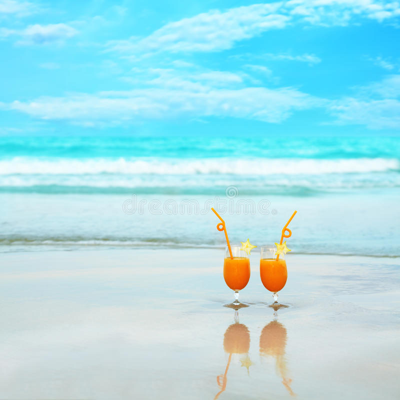 Two glasses of orange juice royalty free stock image