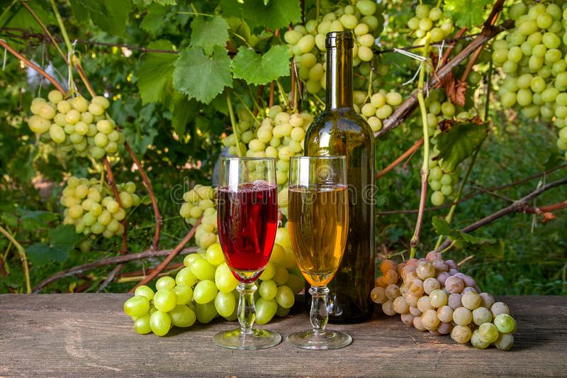 Two glasses of red and white wine and a bunch of grapes on old w stock photography