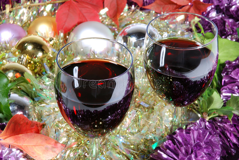 Download Two Glasses Of Red Wine On A Christmas Background Stock Photo - Image: 6745498