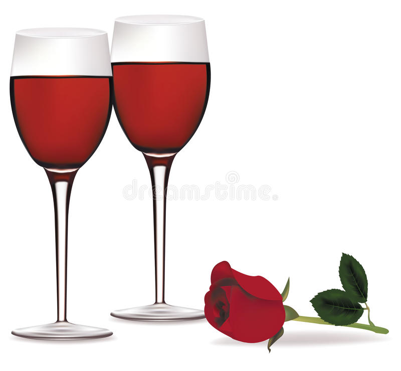 Two glasses of red wine and a rose. stock illustration