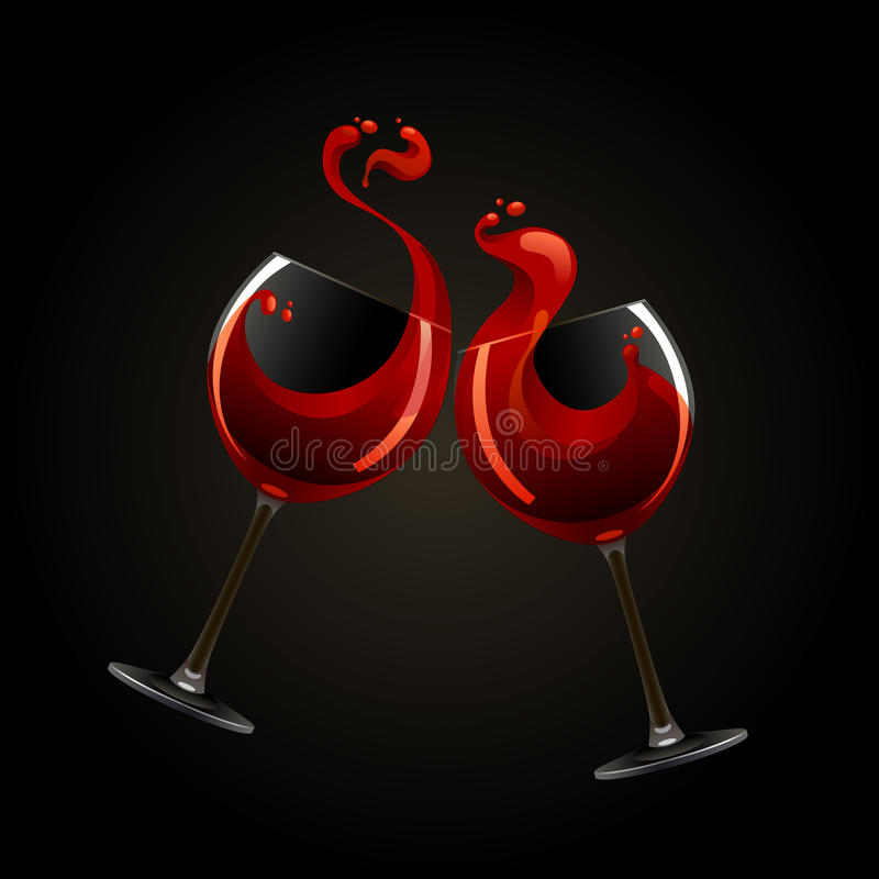 Two Glasses Of Red Wine With Splash Royalty Free Stock Photos
