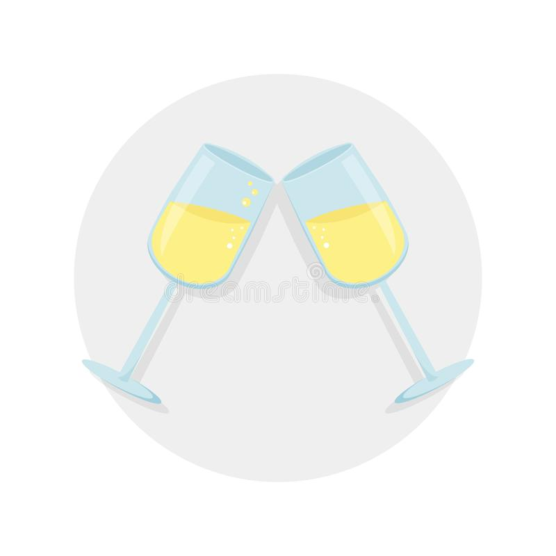 Two glasses with shampagne vector illustration. Vector icon with shadow isolated on the gray background. New year eve royalty free illustration