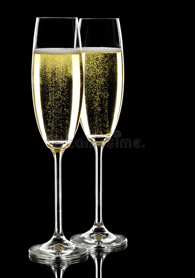 Two glasses of sparkling wine stock photos