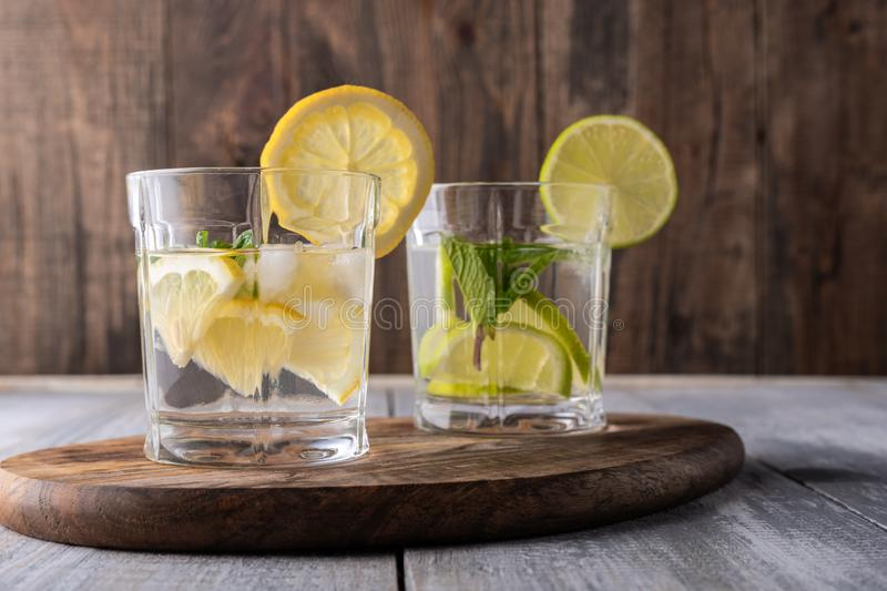 Vegetarian detox lemonade with lemon and mint royalty free stock photo