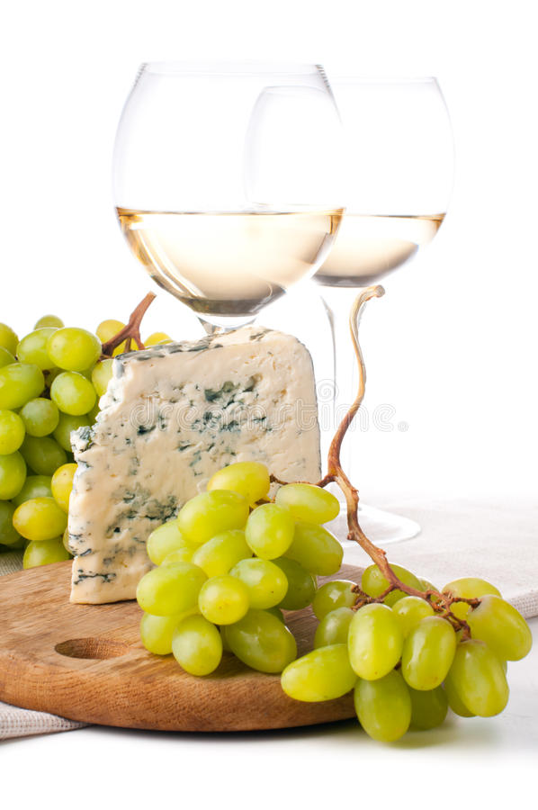 Download Two Glasses Of White Wine, Cheese And A Grapes Stock Image - Image: 24496931