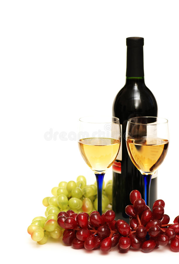 Two Glasses Of Wine, Bottle An Stock Photography
