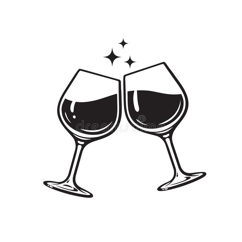 Two glasses of wine. Cheers with wineglasses. Clink glasses icon. Vector illustration on white background. Two glasses of wine. Cheers with wineglasses. Clink vector illustration