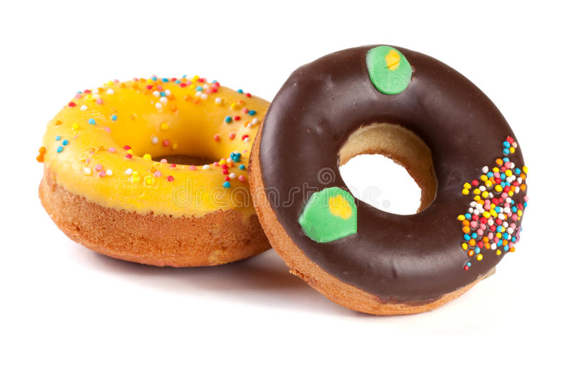 Two glazed donut isolated on white background.  royalty free stock photo