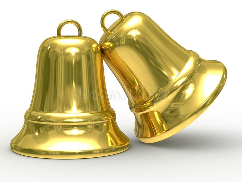 Two gold hand bell on white background stock photo