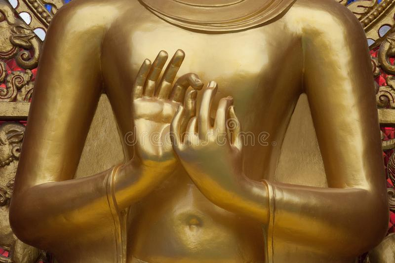 Two Gold hand of buddha. royalty free stock photos