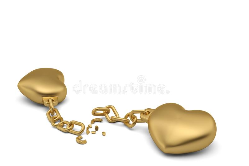 Two gold hearts with broken chains on white background.3D illustration. royalty free illustration