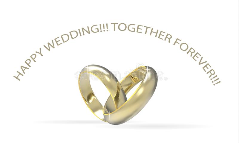Two gold wedding rings,symbol of love white background, realistic design. Two gold wedding rings, connected in the shape of a heart. With shadow . precious stock illustration