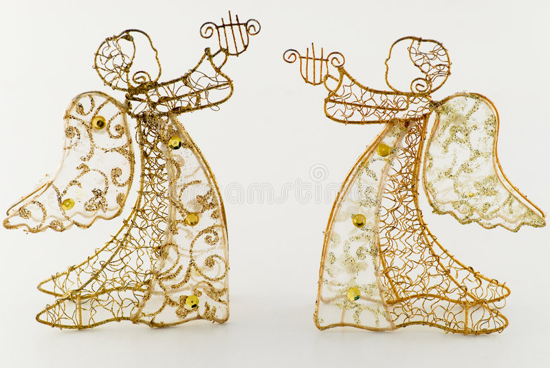 Two Golden Angels With Harp Stock Images