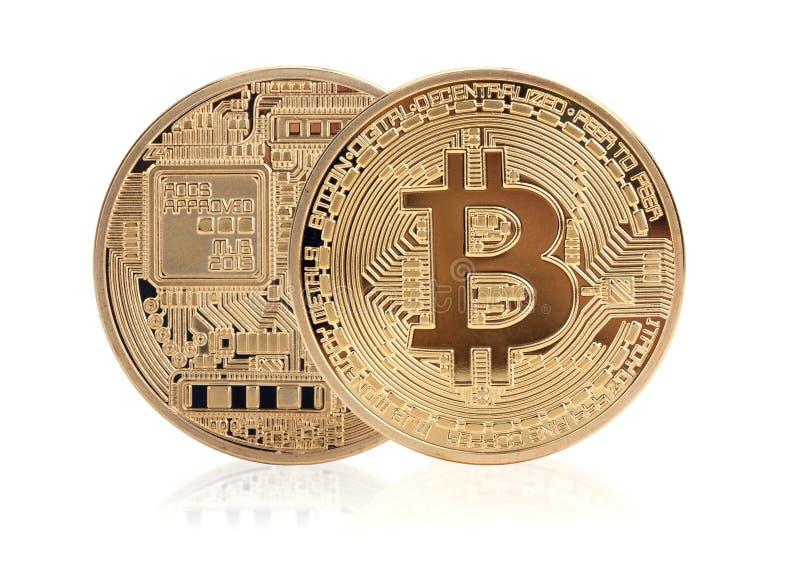 Golden bitcoin royalty free stock photos